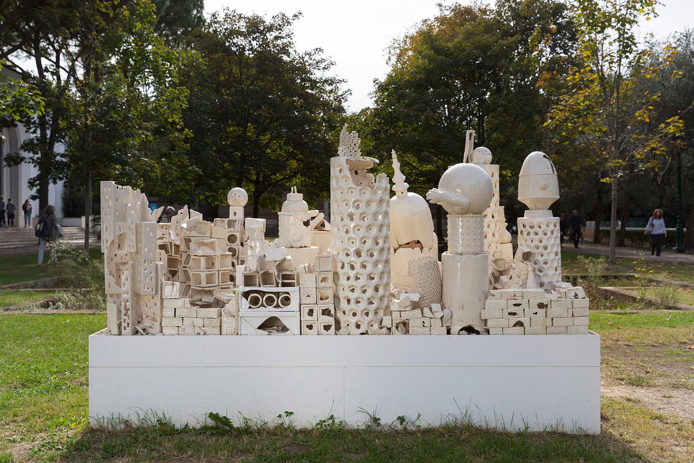 Alegoria (March 2–8, 2015: Cerámica Suro Contemporánea, Guadalajara, Jalisco, Mexico)   2015  Ceramica Suro slip cast remnants, glaze, and firing plates  64 x 99 1/2 x 42 1/4 inches   Ceramics, 2013–    All the World's Futures, 2015
