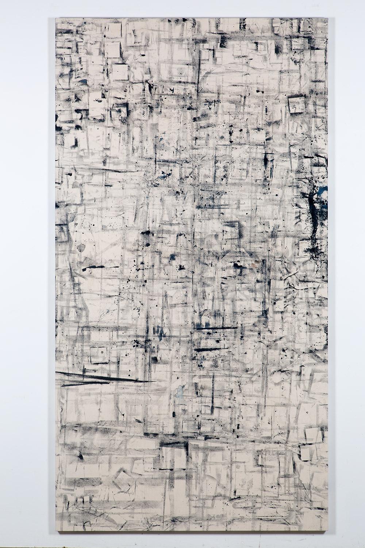 Marginalis (Los Angeles, California, October 21, 2013–January 31, 2014)   2014  Cyanotype chemistry on canvas  104 x 55 inches   Cyanotype Paintings, 2013–2015    Marginalia, 2014