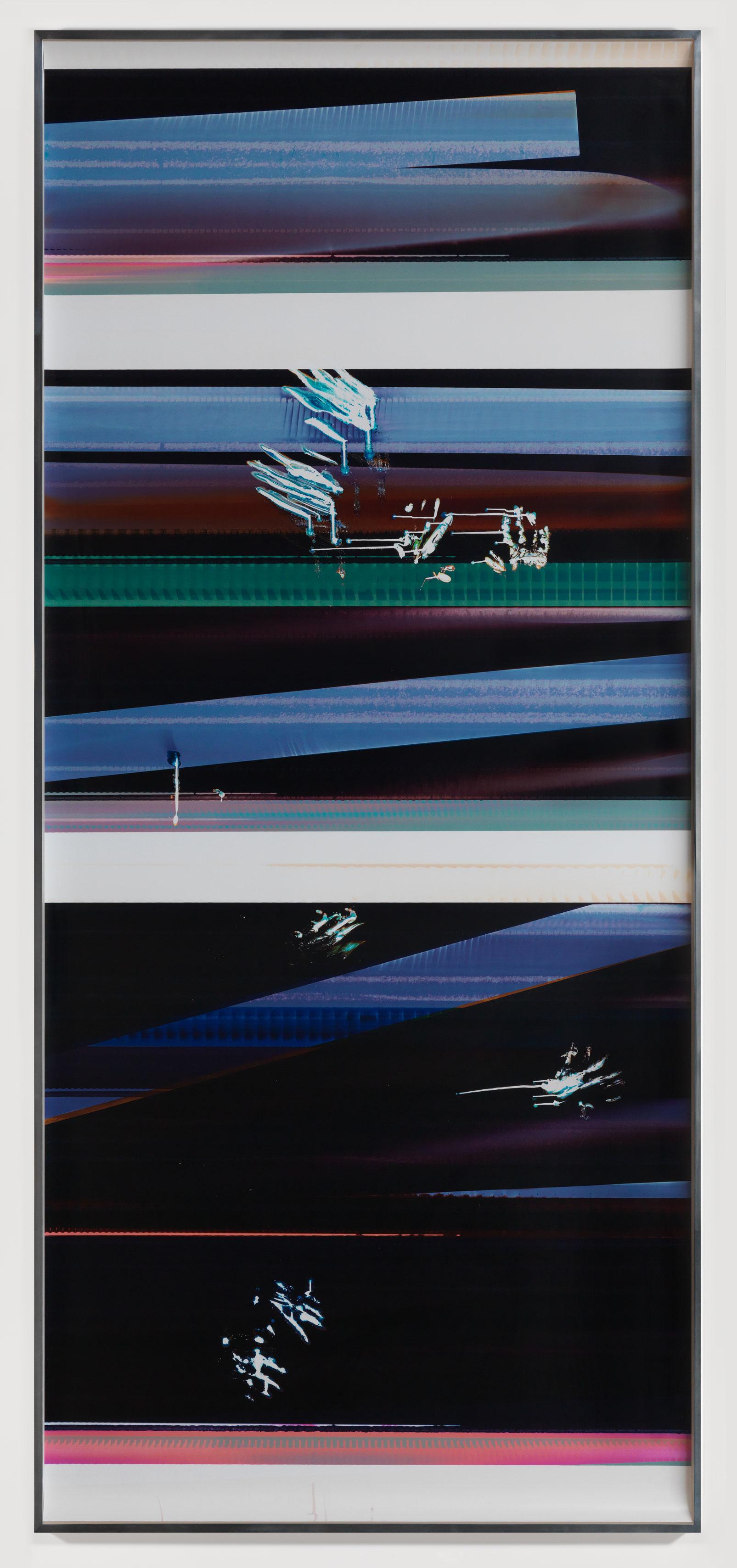 Cross-Contaminated RA4 Contact Print [Black Curl (9:6/YMC/Six Magnet: Los Angeles, California, August 13, 2014, Fujicolor Crystal Archive Super Type C, Em. No. 112-012, Kodak Ektacolor RA Bleach-Fix and Replenisher, Cat. No. 847 1484, 81414), Kreonite KM IV 5225 RA4 Color Processor, Ser. No. 00092174]   2014  Color photographic paper  116 1/4 x 50 inches   RA4 Contact Print Curls, 2014–    Gastarbeiten, 2014