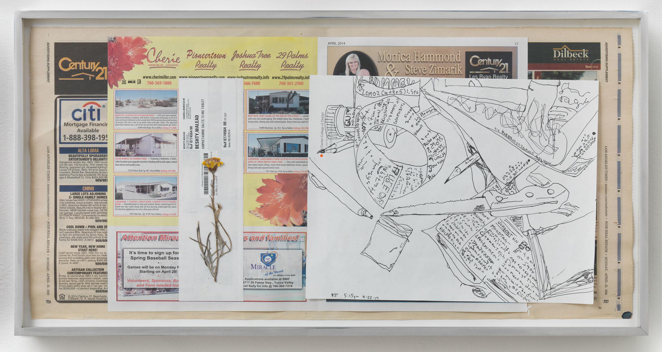 Corn Hustlers Nabbed; Ad Agency Blues: Pay Play in binge lawsuit, 86º, 2:45pm, 22-4-14   2014  Ink on paper, envelope, dried flower, newspaper  12 x 22 inches   Drawings, 2014–    Gastarbeiten, 2014