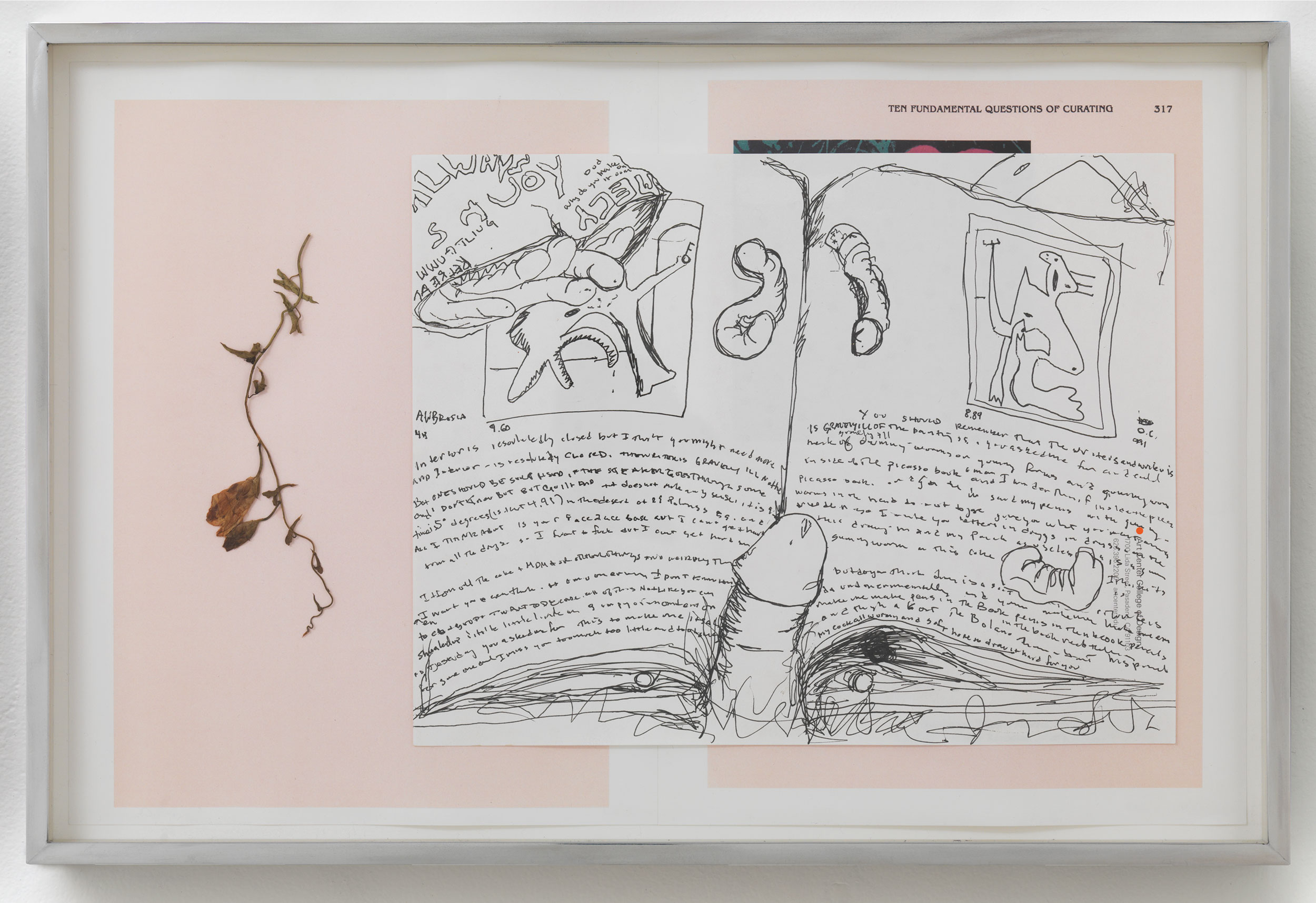 Picasso and Truth: From Cubism to Guernica II   2014  Ink on paper, dried flower, paper  12 x 18 inches   Drawings, 2014–    Gastarbeiten, 2014