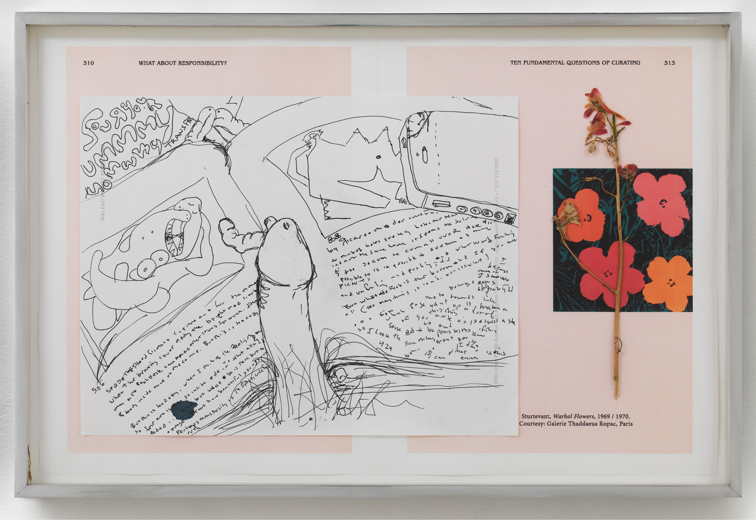 Picasso and Truth: From Cubism to Guernica III   2014  Ink on paper, dried flower, paper  13 7/8 x 18 inches   Drawings, 2014–    Gastarbeiten, 2014