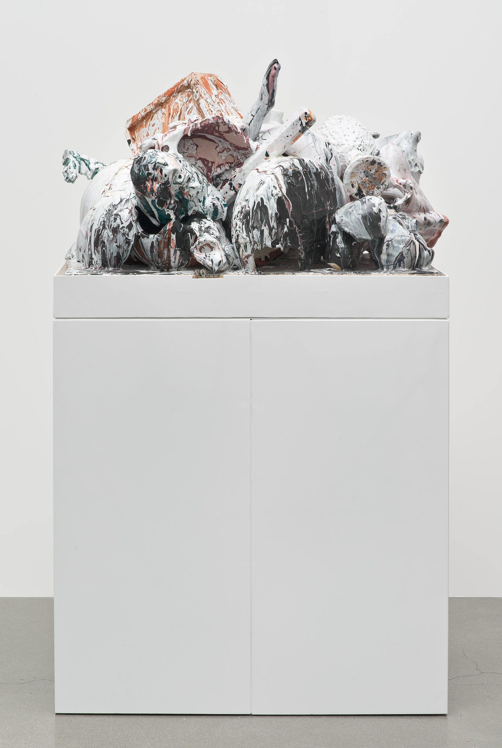 Aggregate XXVII (August 21st–23rd, Cerámica Suro, Guadalajara, Jalisco, Mexico)   2013  Ceramica Suro slip cast remnants, glaze, and firing plate  77 3/4 x 35 1/2 x 22 inches   Ceramics, 2013–    Selected Bodies of Work, 2014