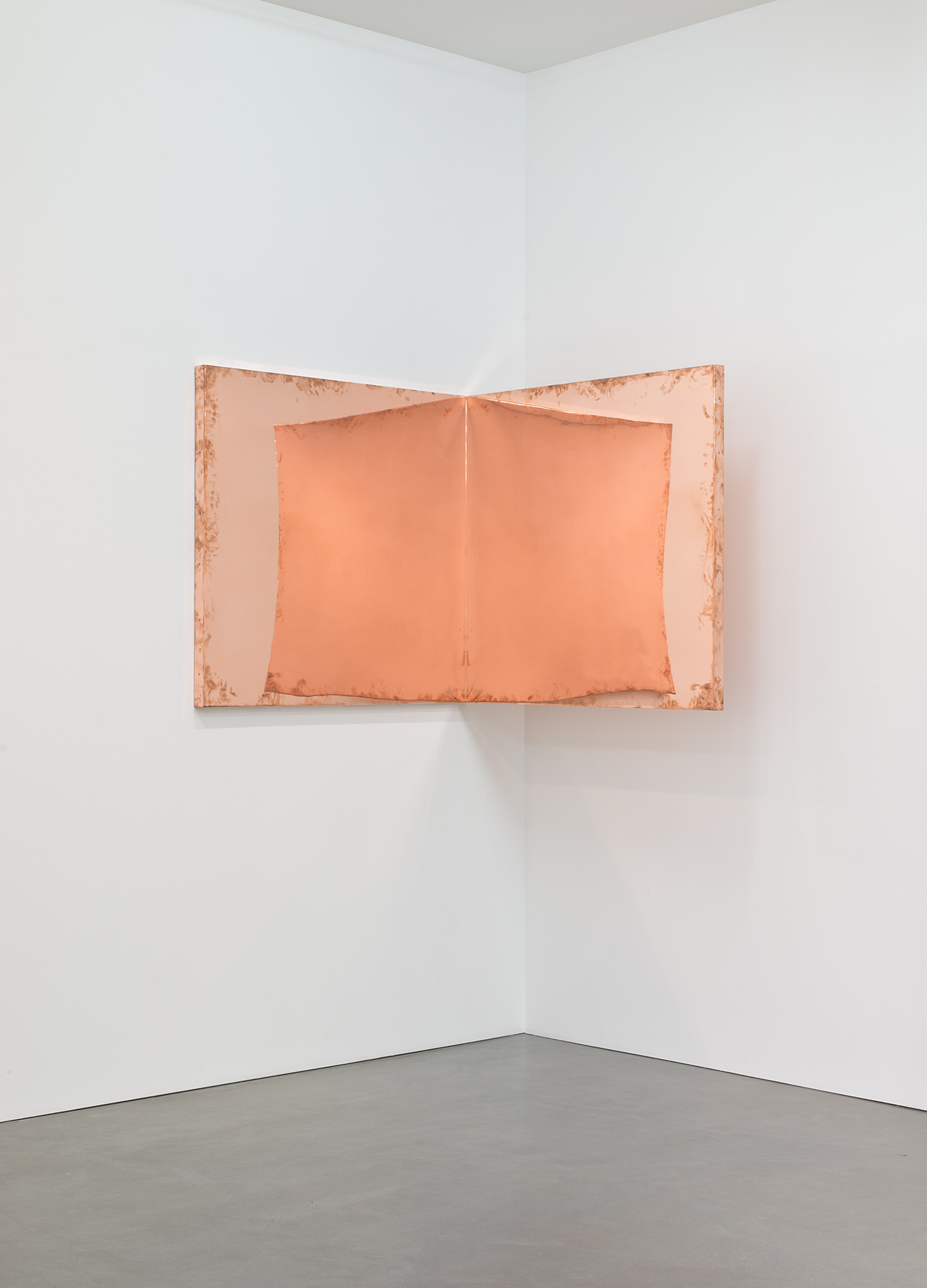 """Copper Surrogate (60"""" x 120"""" 48 ounce C11000 Copper Alloy, 90º Bend, 60""""Bisection: February 20/April 5, 2014, Los Angeles, California)   2014–  Polished copper  60 x 60 x 60 inches   Surrogates (Full Sheet, Art Handling), 2011–    Selected Bodies of Work, 2014"""