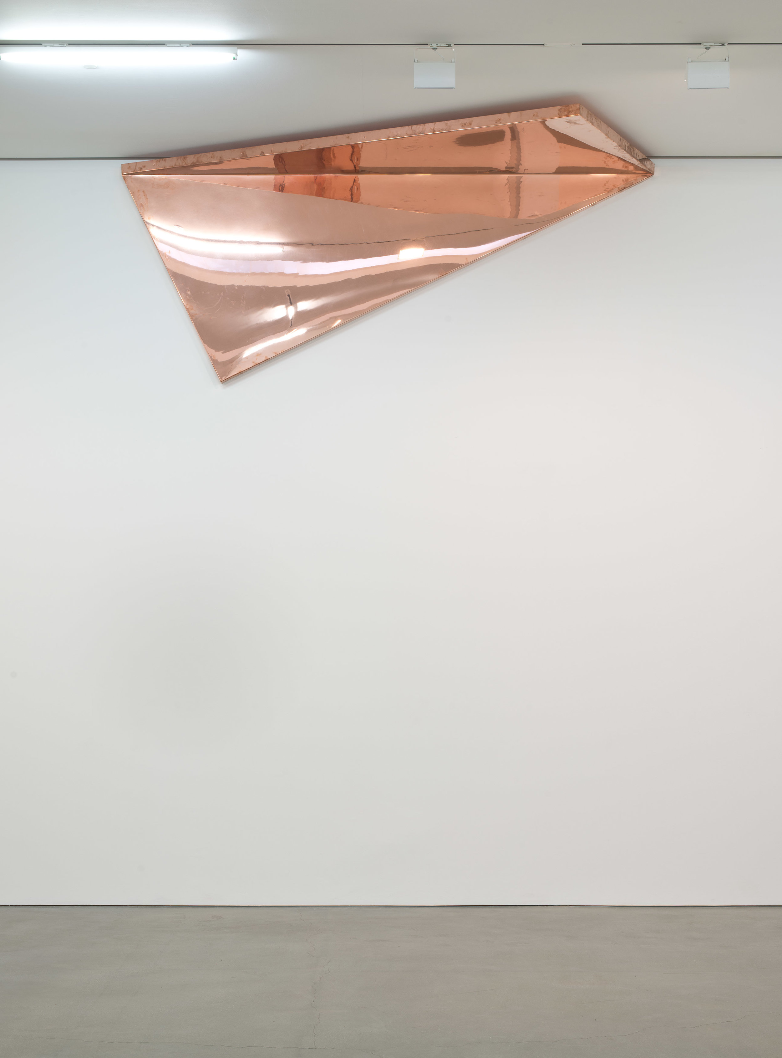 """Copper Surrogate (60"""" x 120"""" 48 ounce C11000 Copper Alloy, 90º Bend, 127 1/2""""30º Diagonal / 150º Antidiagonal Bisection:February 20/April 5, 2014, Los Angeles, California)   2014  Polished copper  120 x 60 x 50 inches   Surrogates (Full Sheet, Art Handling), 2011–    Selected Bodies of Work, 2014"""