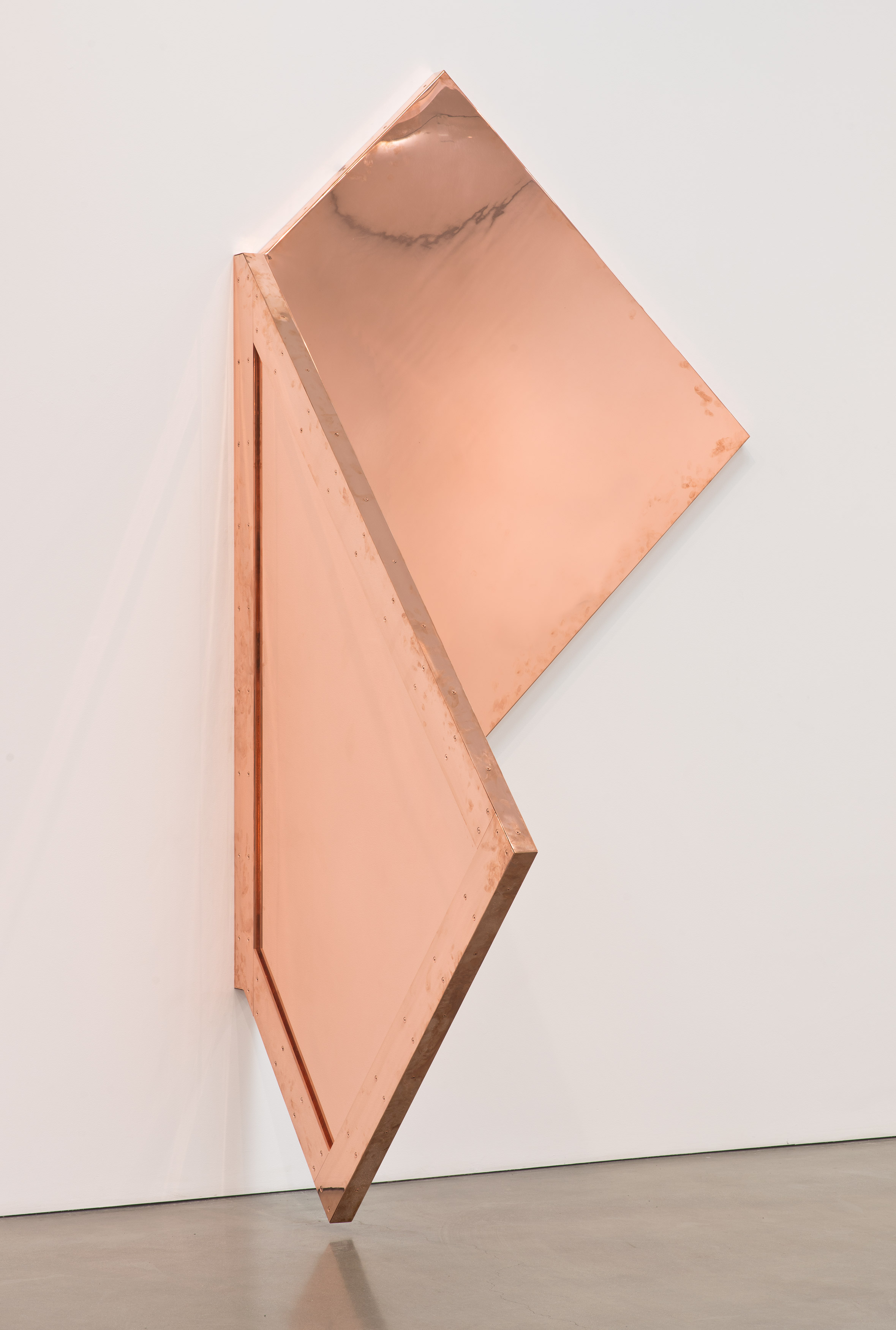 """Copper Surrogate (60"""" x 120"""" 48 ounce C11000 Copper Alloy, 90º Bend, 77 3/4""""45º Diagonal / 135º Antidiagonal Bisection: February 20/April 5, 2014, Los Angeles, California)   2014  Polished copper  110 x 60 x 50 inches   Surrogates (Full Sheet, Art Handling), 2011–    Selected Bodies of Work, 2014"""