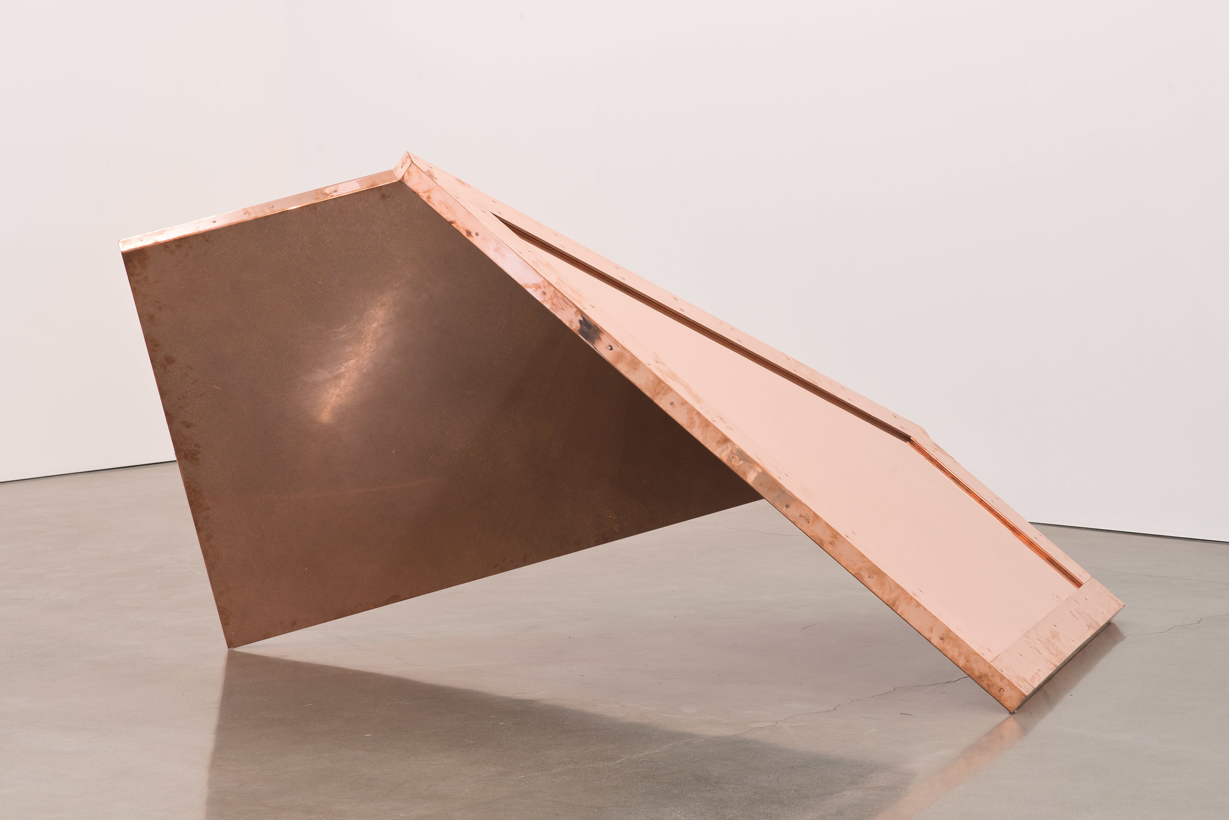 """Copper Surrogate (60"""" x 120"""" 48 ounce C11000 Copper Alloy, 90º Bend, 77 3/4"""" 135º Antidiagonal / 45º Diagonal Bisection: February 19-21/April 5, 2014, Los Angeles, California)   2014  Polished copper  110 x 60 x 50 inches   Surrogates (Full Sheet, Art Handling), 2011–    Selected Bodies of Work, 2014"""