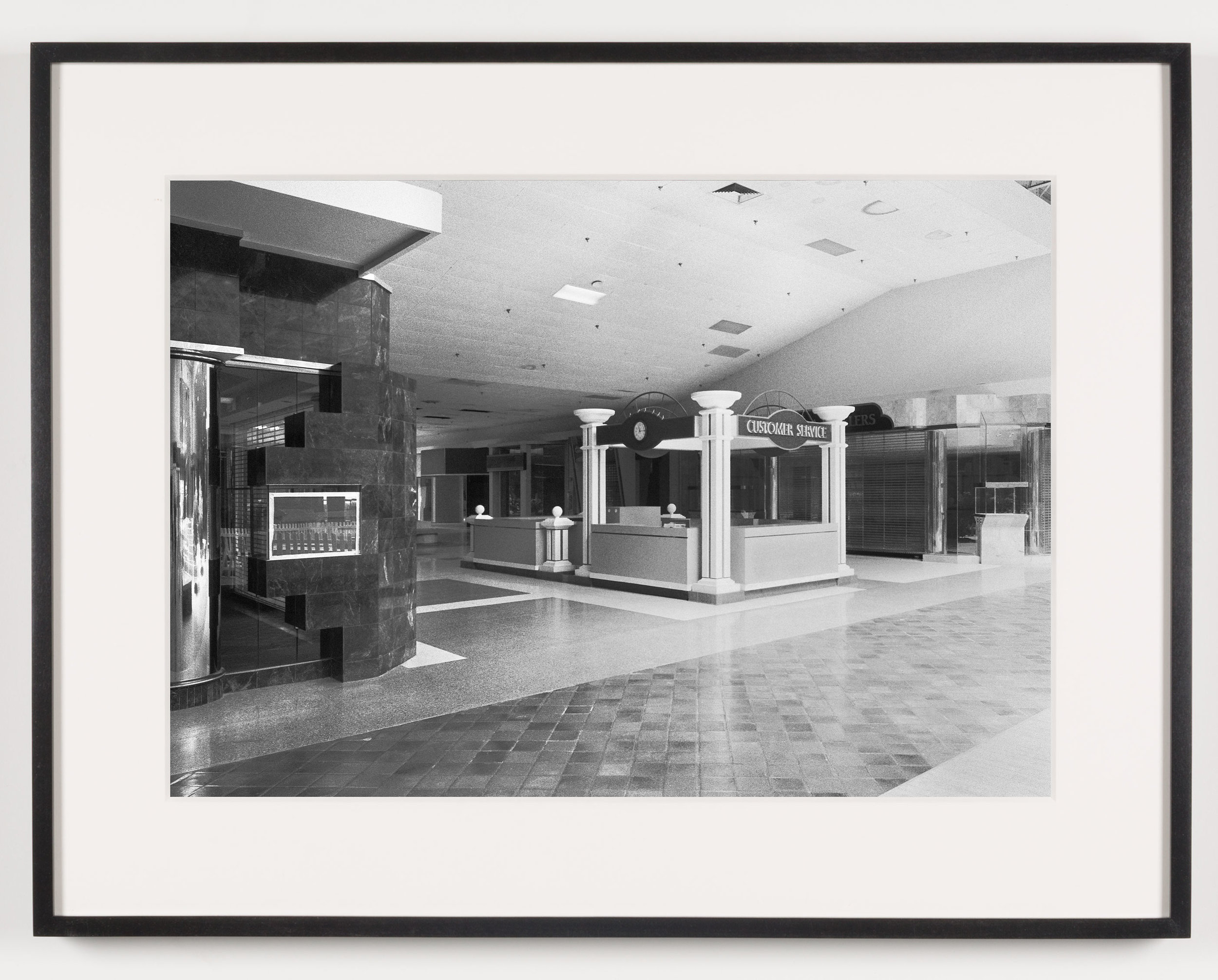 Rolling Acres Mall (View of Customer Service Kiosk), Akron, OH, Est. 1975   2011  Epson Ultrachrome K3 archival ink jet print on Hahnemühle Photo Rag paper  21 5/8 x 28 1/8 inches   American Passages, 2001–2011    A Diagram of Forces, 2011