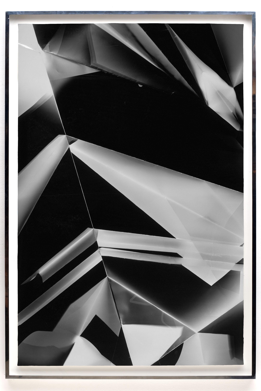 Fold (45º/135º/225º/315º directional light sources), June 27, 2008, Annandale-On-Hudson, New York, Foma Multigrade Fiber   2009  Black and white fiber based photographic paper  67 1/2 x 46 3/4 inches   Black and White Directional Folds, 2006–2014    Legibility on Color Backgrounds, 2009