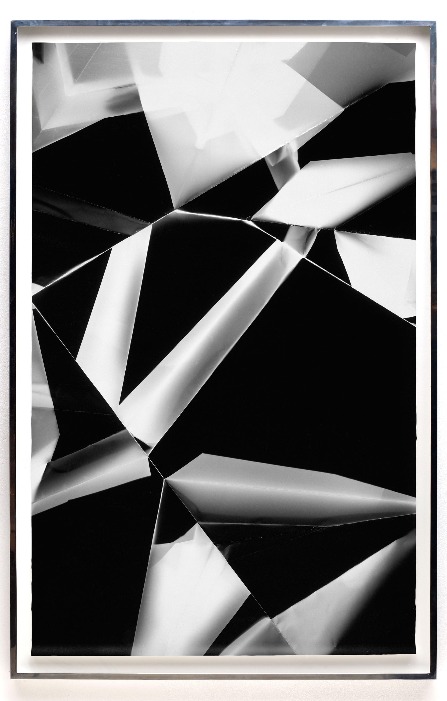 Fold (60º/120º/180º/240º/300º/360º directional light sources), June 5, 2008, Annandale-On-Hudson, New York, Foma Multigrade Fiber   2009  Black and white fiber based photographic paper  72 x 46 3/4 inches   Black and White Directional Folds, 2006–2014    Legibility on Color Backgrounds, 2009