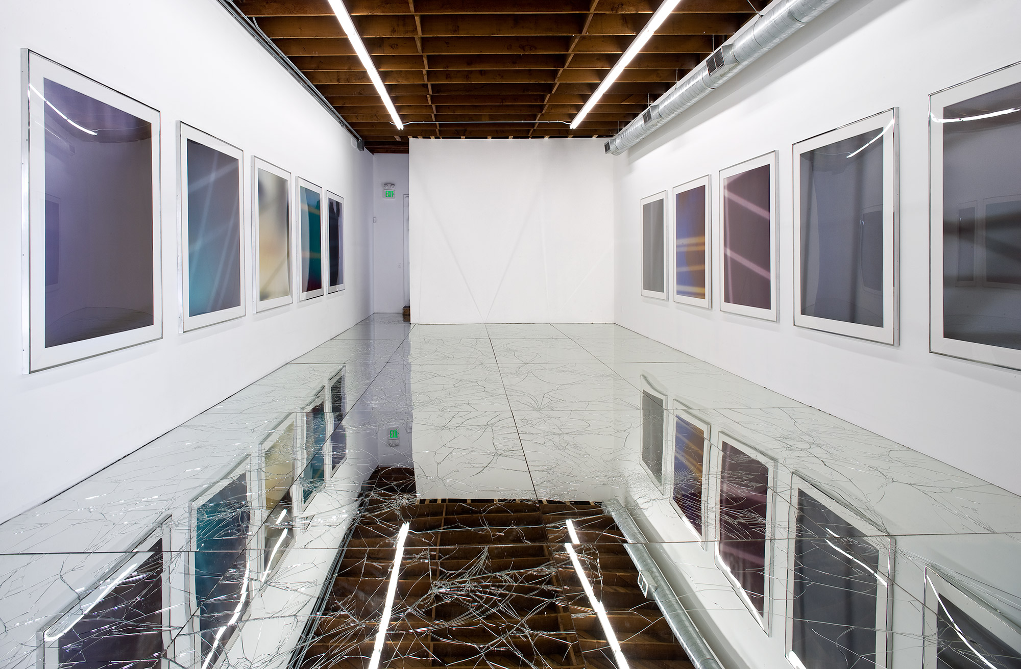 Untitled (LAXART: Los Angeles, CA, March 21–May 2, 2009)   2009  Laminated mirror and glass, neoprene  Dimensions variable   Mirrored Floor Work, 2009–    Passages, 2009