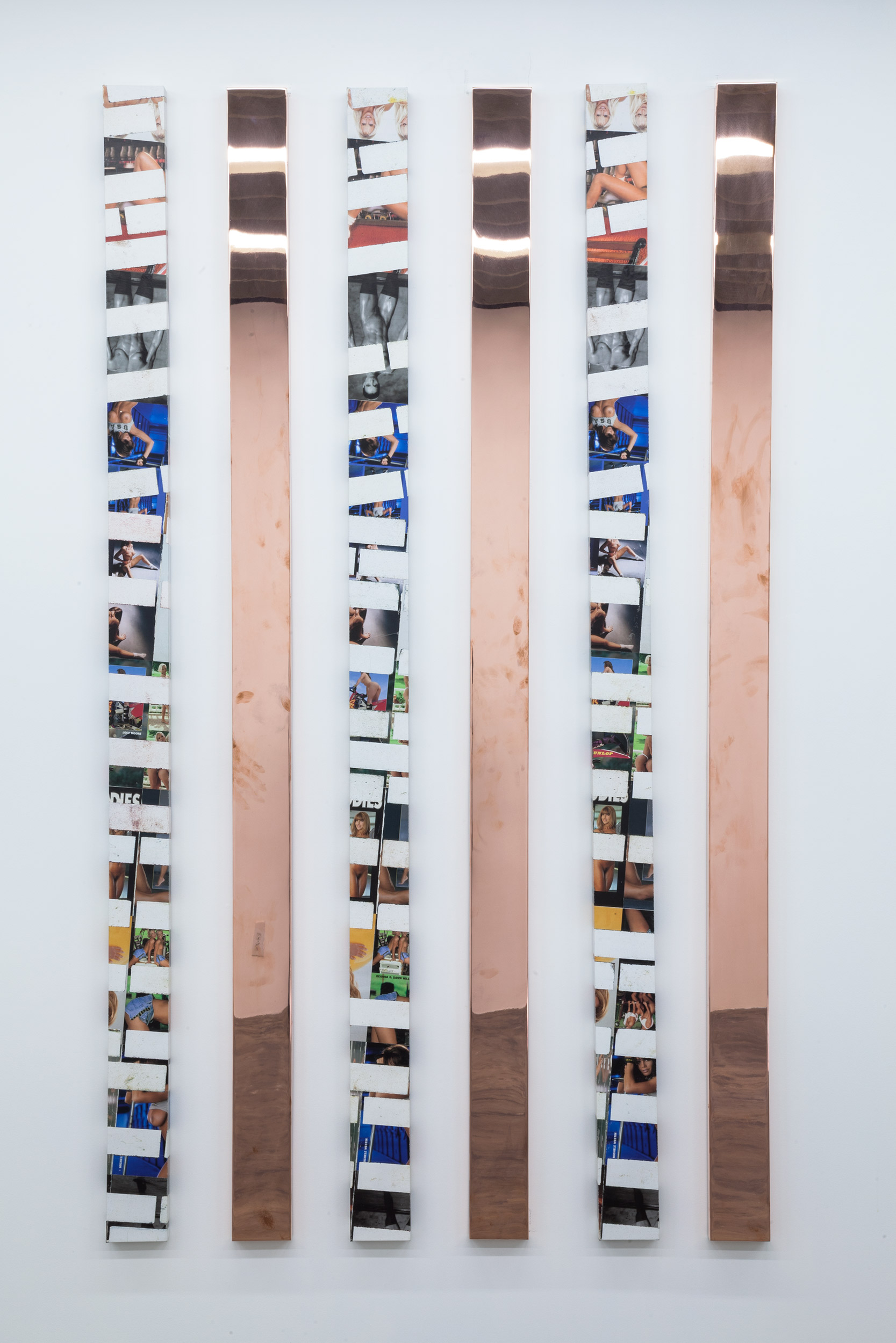 Walead Beshty and Kelley Walker   Hardbody Software (February 26/May 14, 2014, Los Angeles, California)   2014–  Acrylic and ink on canvas, polished copper  96 x 5 inches each   Hardbody Software, 2014