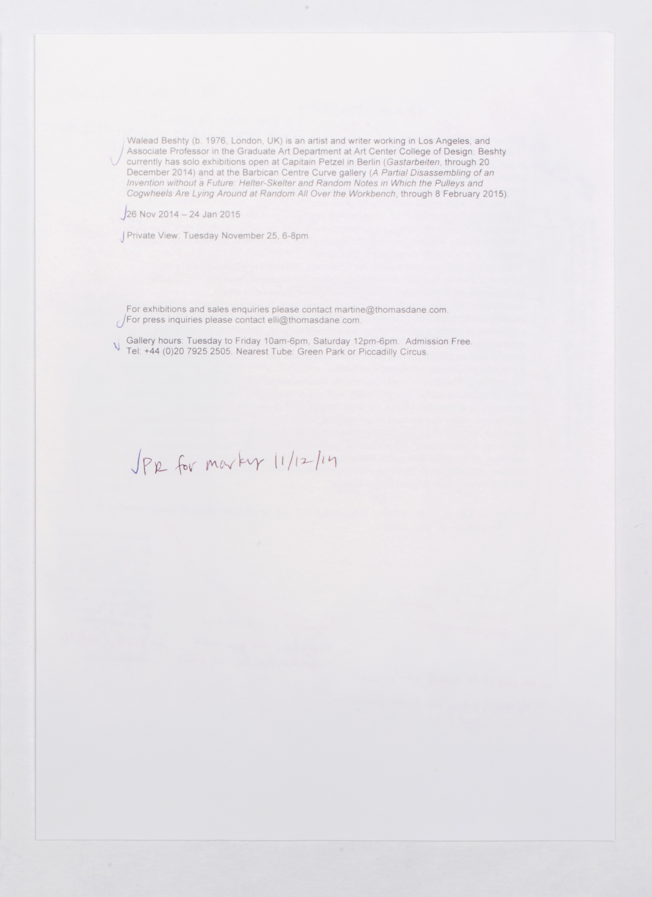 Marginalia press release   Thomas Dane Gallery  London  United Kingdom  2014