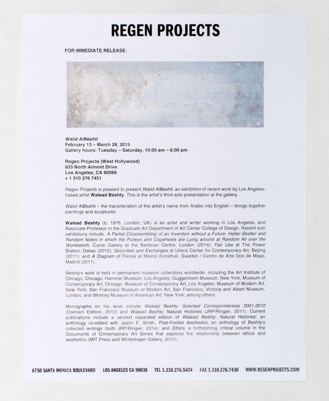 Walid AlBeshti press release   Regen Projects  Los Angeles  California  2015