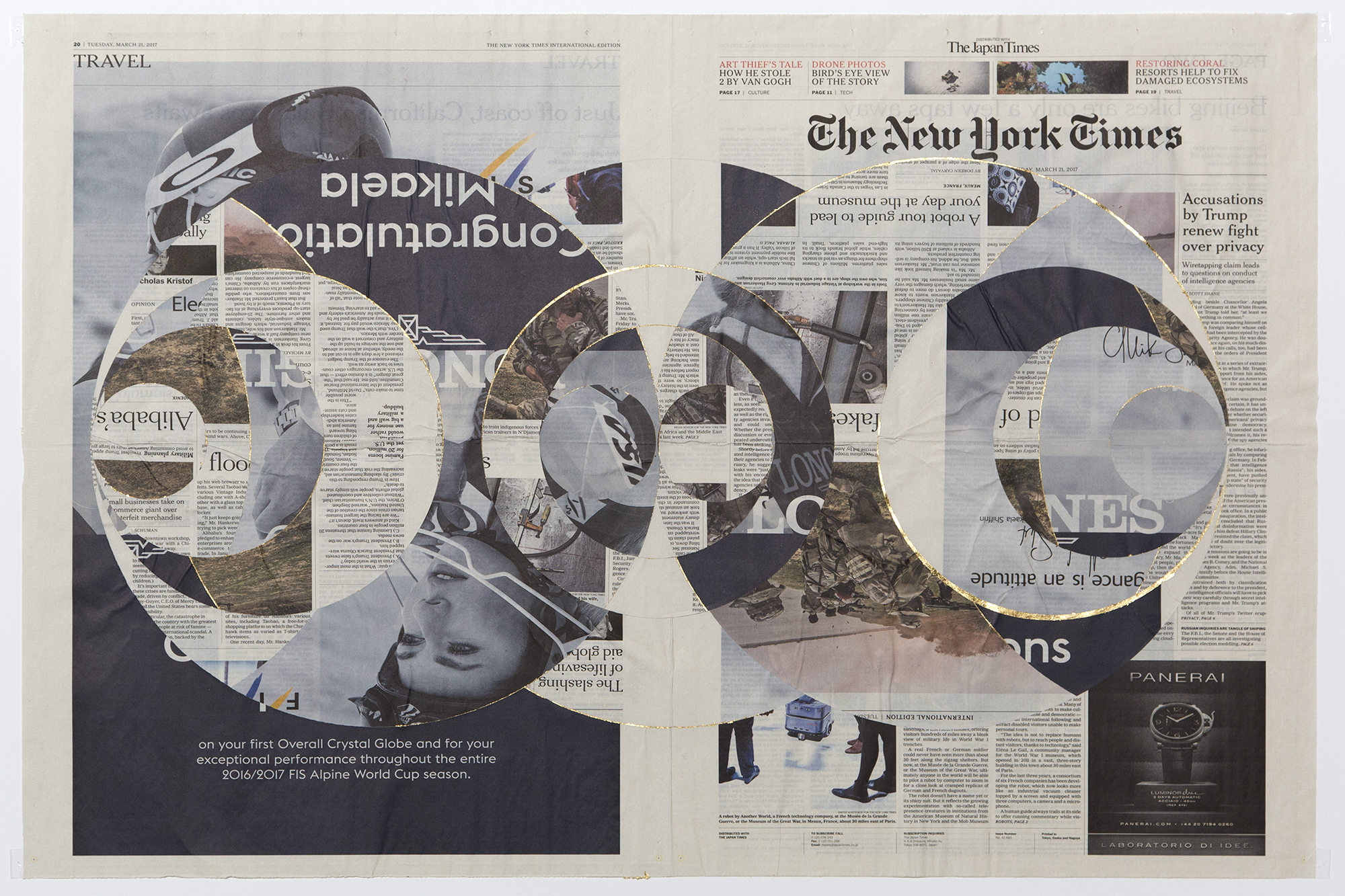 Japan Times/New York Times, Tuesday, March 21, 2017    2017   Gold leaf, newspaper  25 1/2 x 32 inches
