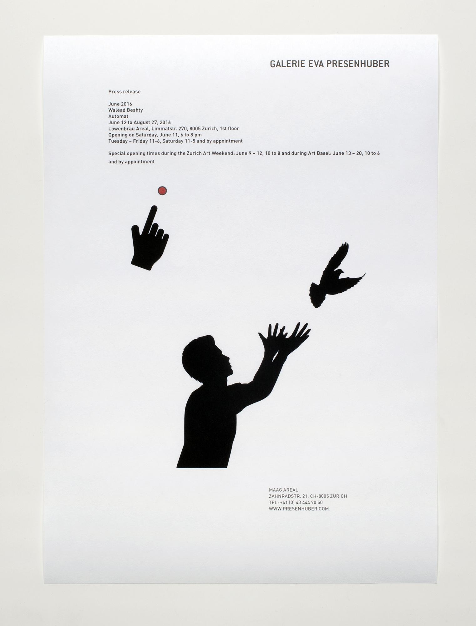 Automat press release   Galerie Eva Presenhuber  Zurich  Switzerland  2016