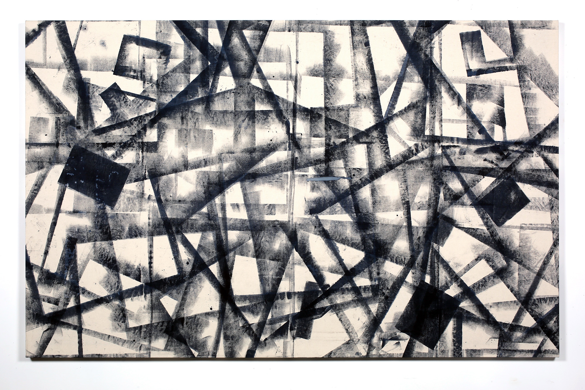 Marginalis (Los Angeles, California, August 1–30, 2014)   2014  Cyanotype chemistry on canvas  55 x 84 1/2 inches   Cyanotype paintings, 2013–2015    Progressive Praxis, 2016