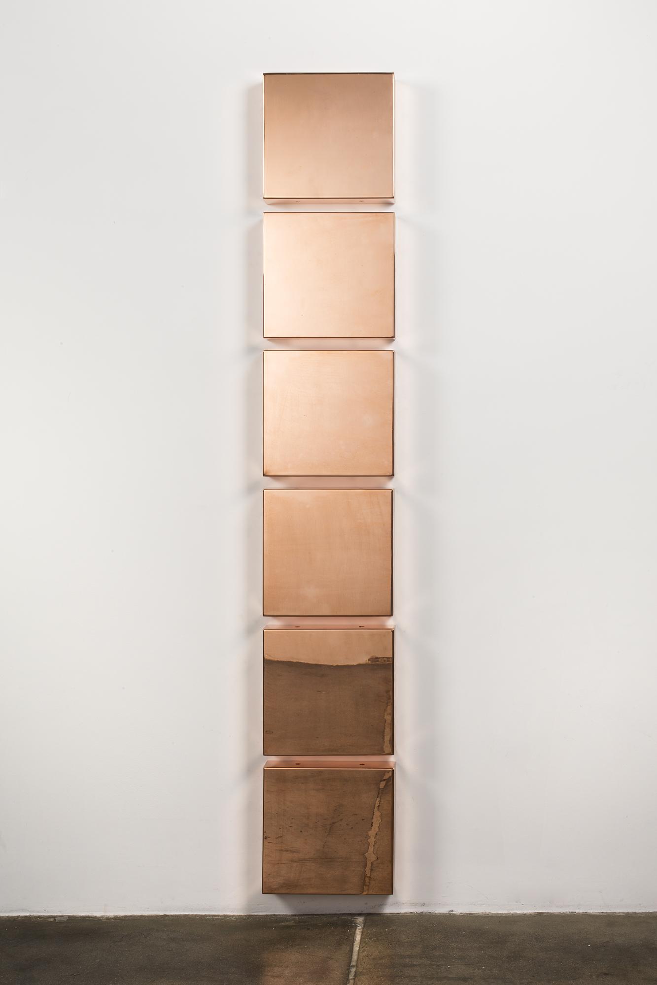 Copper Surrogate (48 ounce C11000 Copper Alloy: June 14, 2016, Basel, Switzerland; November 22, 2016, Miami, Florida)    2015   Polished copper  10 x 10 x 2 1/2 inches each, 6 parts   Progressive Praxis, 2016