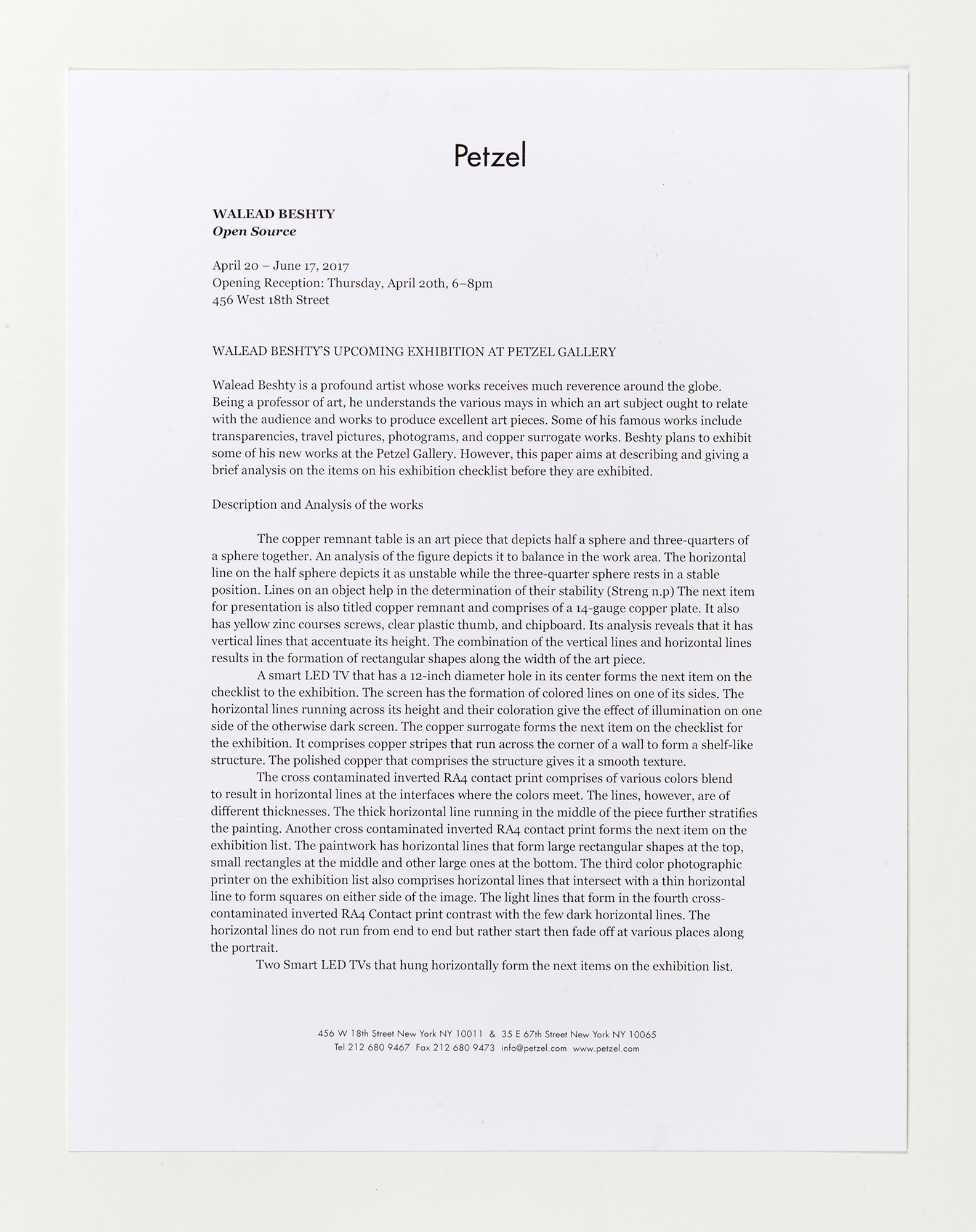 Open Source press release   Petzel Gallery  New York  New York  2017