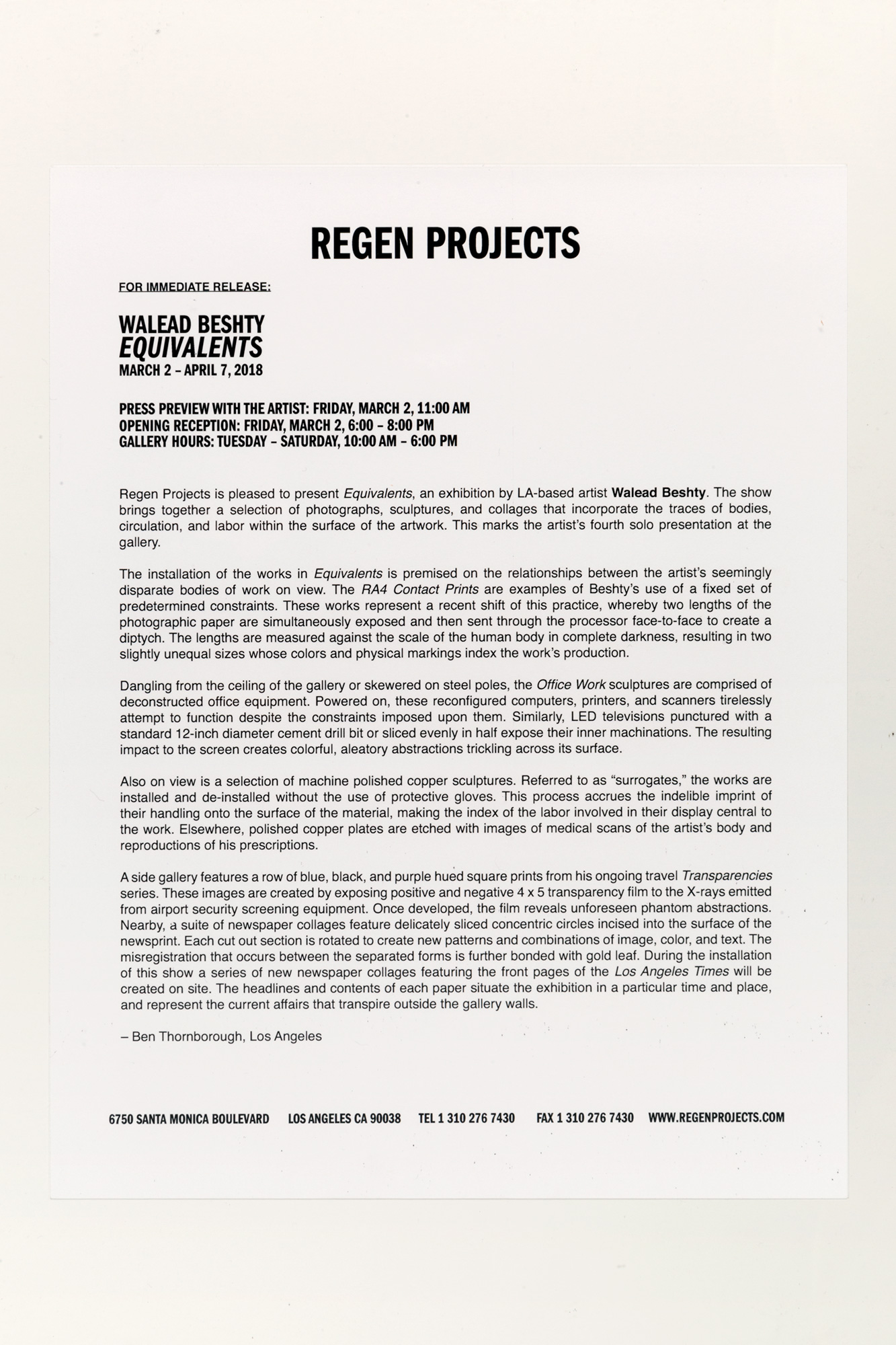 Equivalents press release   Regen Projects  Los Angeles  California  2018