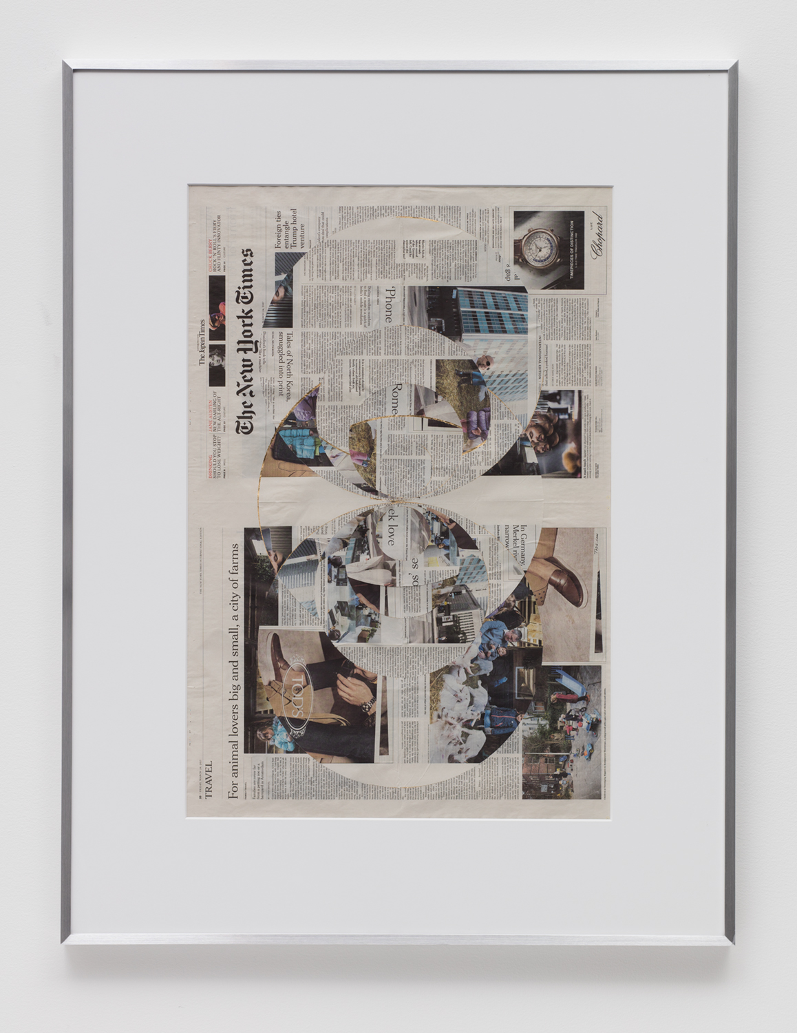 Blind Collage (Four 180º Rotations, The New York Times International Edition Distributed with The Japan Times, Friday, March 24, 2017)   2017  Newspaper, tape, and 22 karat gold leaf  43 5/8 x 33 1/8 inches   Blind Collages, 2017–    Transparencies, 2017    Equivalents, 2018