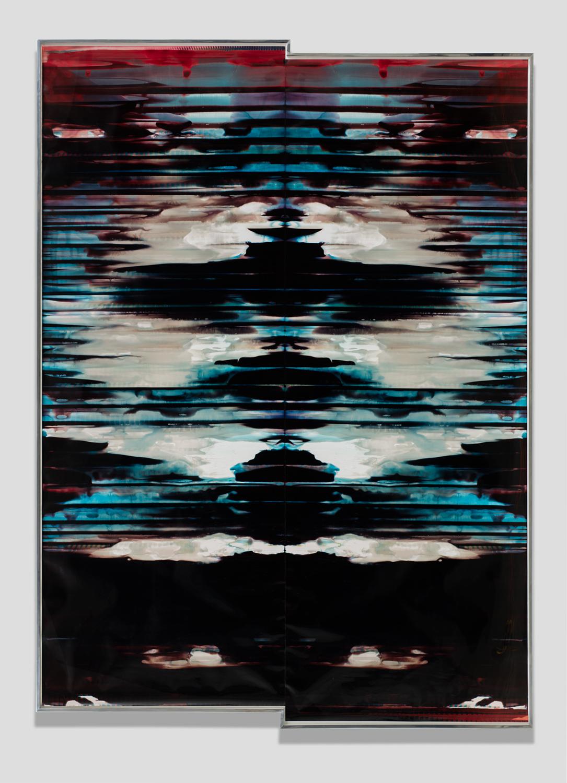 Inverted RA4 Contact Print / Processor Stall (YM: Los Angeles, California, November 9, 2017; Fujicolor Crystal Archive Super Type C, Em. No. 152-017; Kodak Ektacolor RA Bleach-Fix and Replenisher; Kreonite KM IV 5225 RA4 Color Processor, Ser. No. 00092174; 41717)   2018  Color photographic paper  141 x 101 3/4 inches   Inverted RA4 Contact Prints, 2016–    Equivalents, 2018