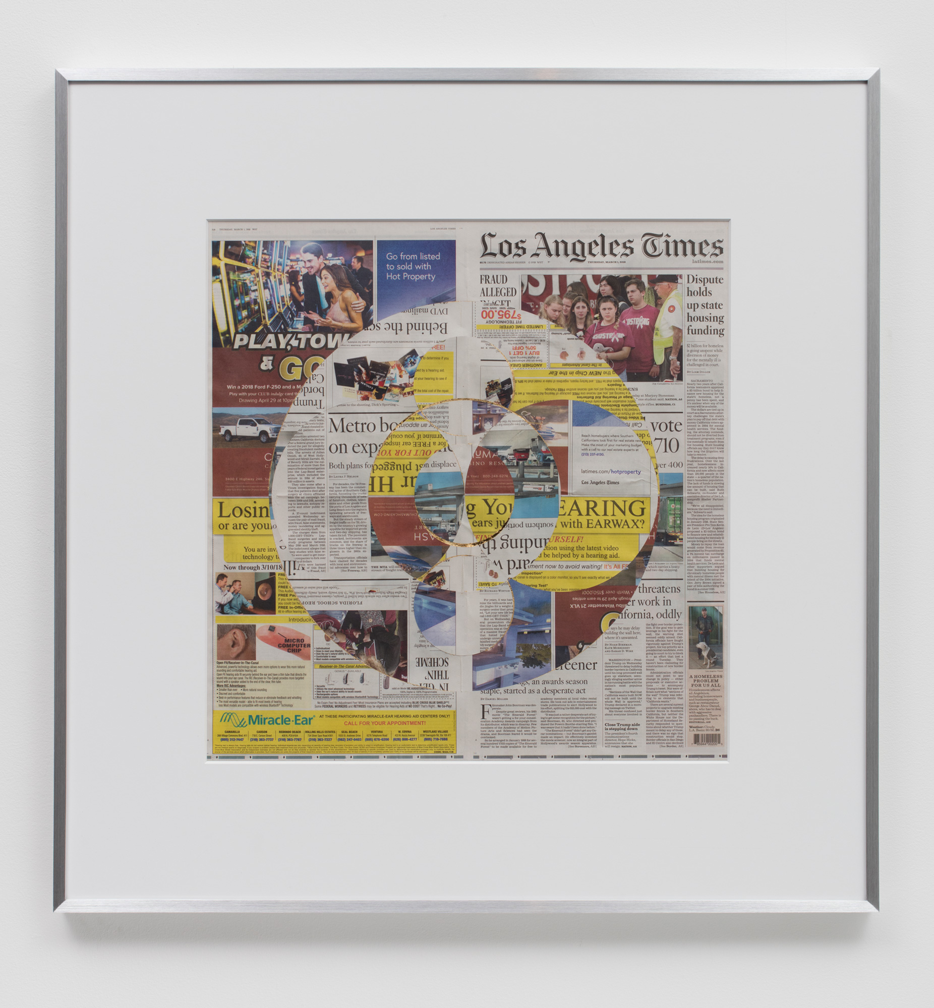 Blind Collage (Three 180° Rotations, Los Angeles Times, Thursday, March 1, 2018)   2018  Newspaper, tape, and 22 karat gold leaf  34 1/2 x 33 3/4 inches   Blind Collages, 2017–    Equivalents, 2018