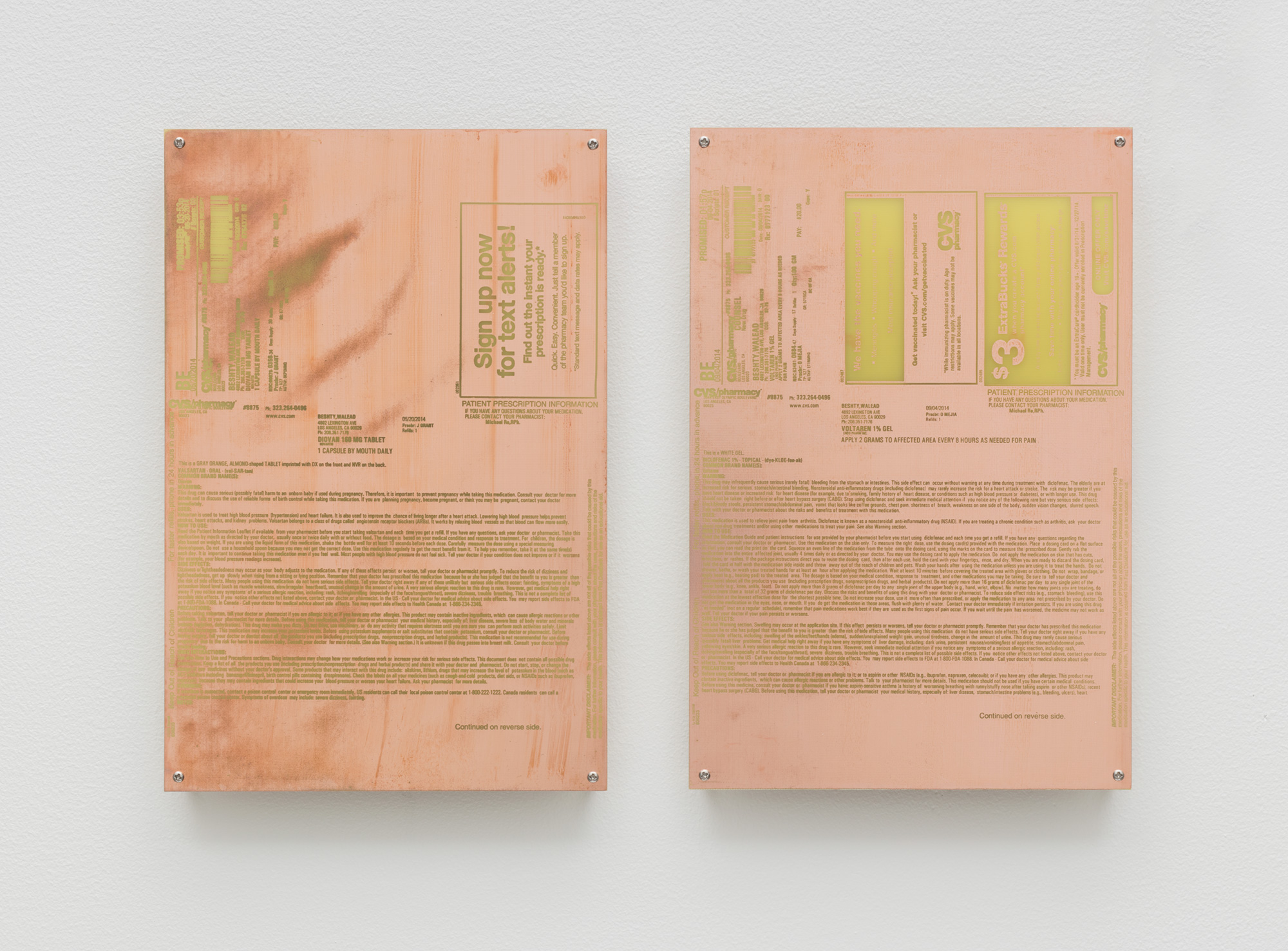 Body Prints (Diovan 160mg Tablet [May 20, 2014]; Voltaren 1% Gel [September 4, 2014])   2018  Etched copper-clad FR-4 glass-reinforced epoxy laminate board  12 x 8 inches each, 2 parts   Body Prints, 2017–    Equivalents, 2018