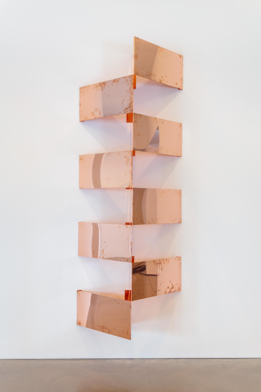 "Copper Surrogates (60"" x 120"" 48 ounce C11000 Copper Alloy, 45º/45º/90º, February 23–27/April 9, 2018, Los Angeles, California)    2018–   Polished copper  23 1/2 x 23 1/2 x 15 1/16 inches each, 8 parts   Surrogates (Modular, Art Handling), 2014–    Equivalents, 2018"