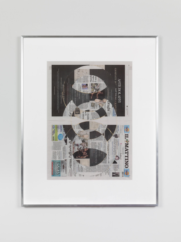 Il Mattino, Venerdi 14 Settembre 2018   2018  Newspaper, tape, and 22 karat gold leaf  39 3/8 x 31 1/2 inches   Blind Collages, 2017–    Aggregato, 2018