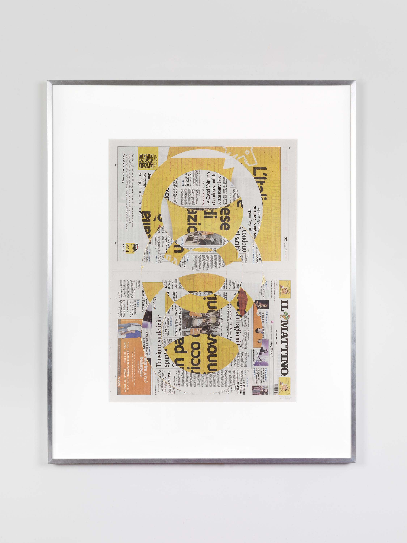 Il Mattino, Martedi 18 Settembre 2018   2018  Newspaper, tape, and 22 karat gold leaf  39 3/8 x 31 1/2 inches   Blind Collages, 2017–    Aggregato, 2018