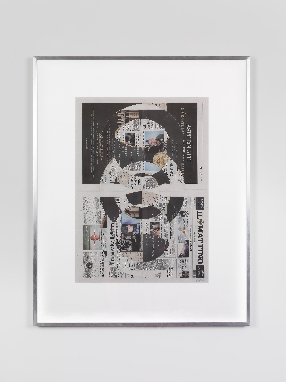 Il Mattino, Govedi 13 Settembre 2018   2018  Newspaper, tape, and 22 karat gold leaf  39 3/8 x 31 1/2 inches   Blind Collages, 2017–    Aggregato, 2018