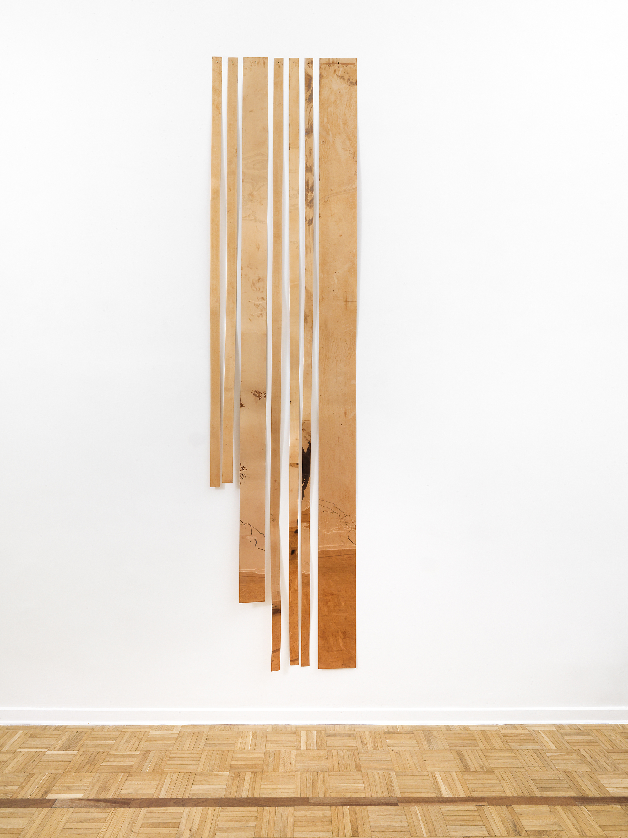 "Copper Remnants (60"" x 120"" 48 ounce C11000 Copper Alloy, 90º Bend, 60"" Bisection/5 Sections)    2014   Polished copper  Dimensions variable, 7 parts   Remnants, 2011–"