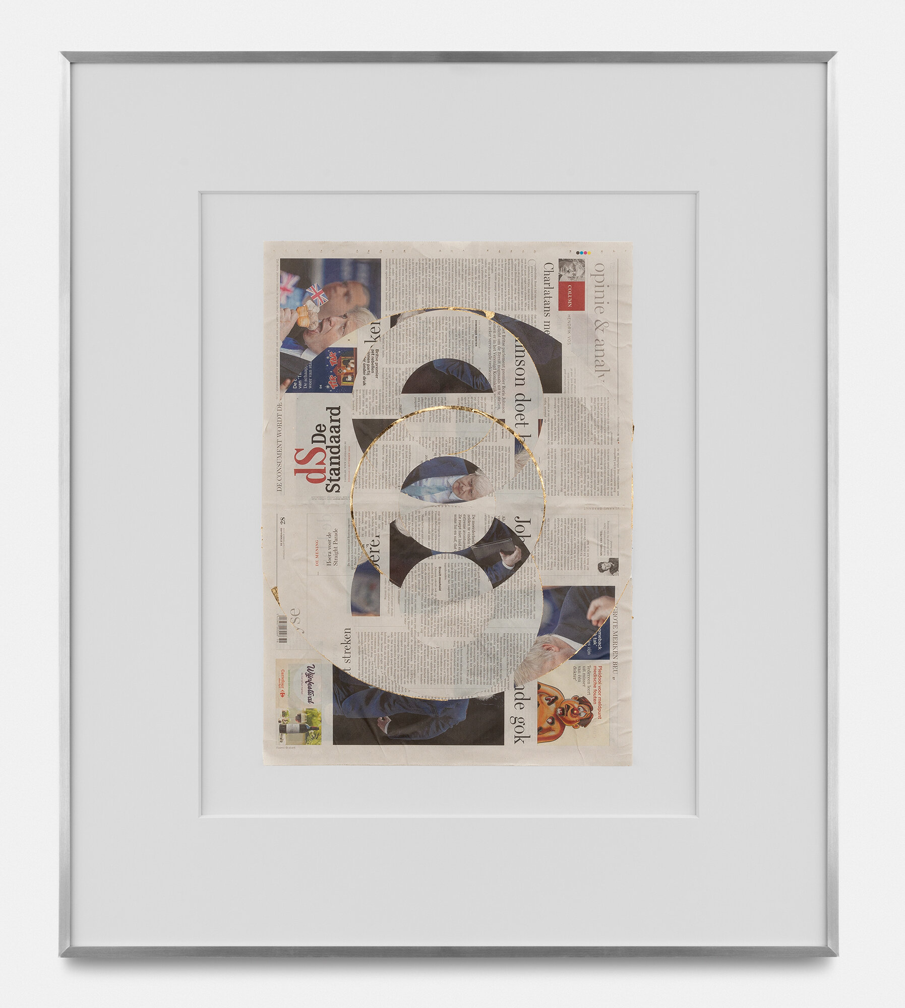 Blind Collage (Three 180° Rotations, de Standaard, Tuesday, September 3, 2019)    2019   Newspaper, tape, and 22 karat gold leaf  33 5/8 x 39 1/8 inches   Blind Collages, 2017–