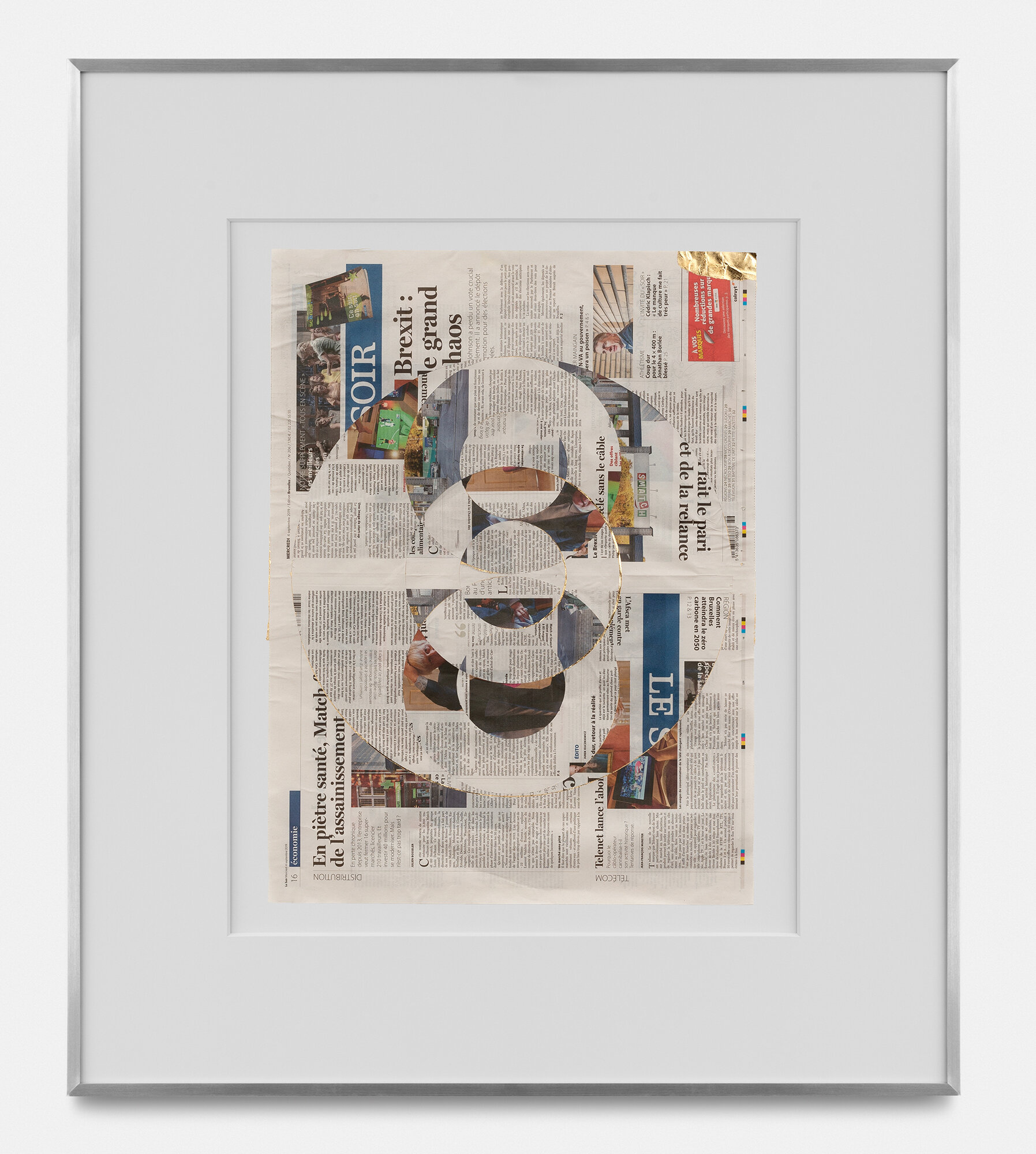 Blind Collage (Three 180° Rotations, Le Soir, Wednesday, September 4, 2019)    2019   Newspaper, tape, and 22 karat gold leaf  33 5/8 x 39 1/8 inches   Blind Collages, 2017–