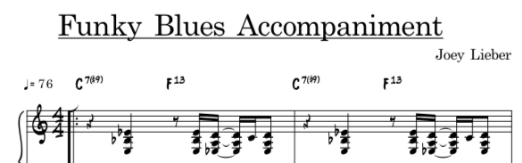 A funky, jazzy, accompaniment in C Blues that can be used for all improv students! -