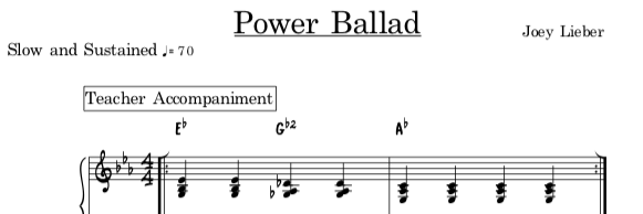 Power Ballad teacher accompaniment and student melody -