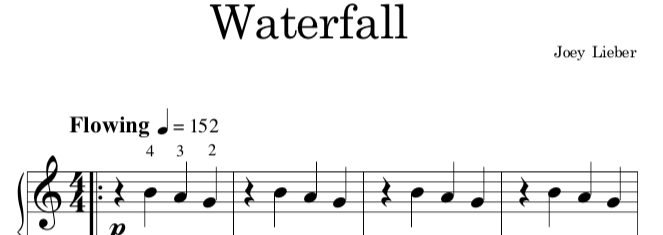 """Waterfall"" is a simple piece with haunting tonality perfect for a young beginner learning how to use the pedal. -"