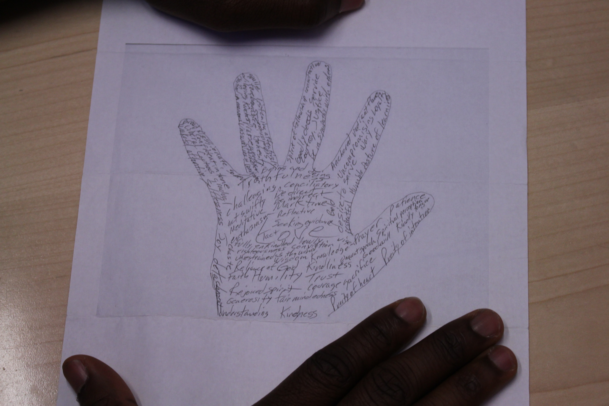 Hand Of Virtues Drawing