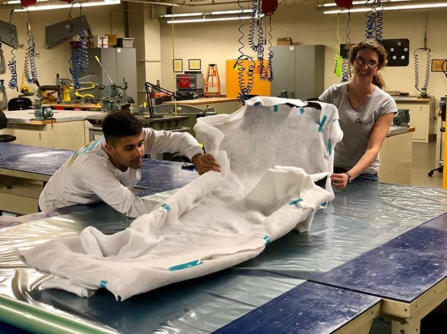 Nihal and Olivia have been busy preparing the body panels to be cured in the oven. Check back later to see the cured panels on the car!⁣ ⁣ #formula #formulasae #formulastudent #erau #eraumotorsports #racecar