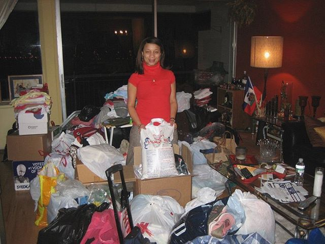 """#tbt Where it all began...⠀ ⠀ In 2008 Haiti was hit by four devastating hurricanes. Sitting in front of her T.V., our President & Founder, Fran Juste knew she had to do something. She started emailing friends and family asking for their help. Before she knew it, her living room was filled with boxes of shoes, toiletries, and canned food. Not knowing at that time how to ship these items, Juste knew one thing, """"I wanted to make sure these items made it directly into the hands of the people in need. The only way I could guarantee this was to hand deliver these items myself."""" - Fran Juste"""