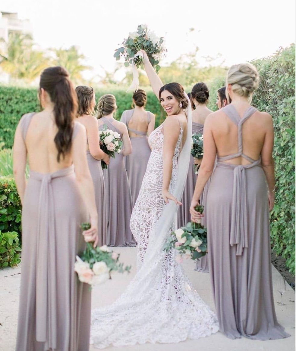 Our bride Crista with her bridesmaids at her Finest Playa Mujeres destination wedding in Mexico. Bridesmaid dresses from LuLus. Photo- Mon Adri Photography