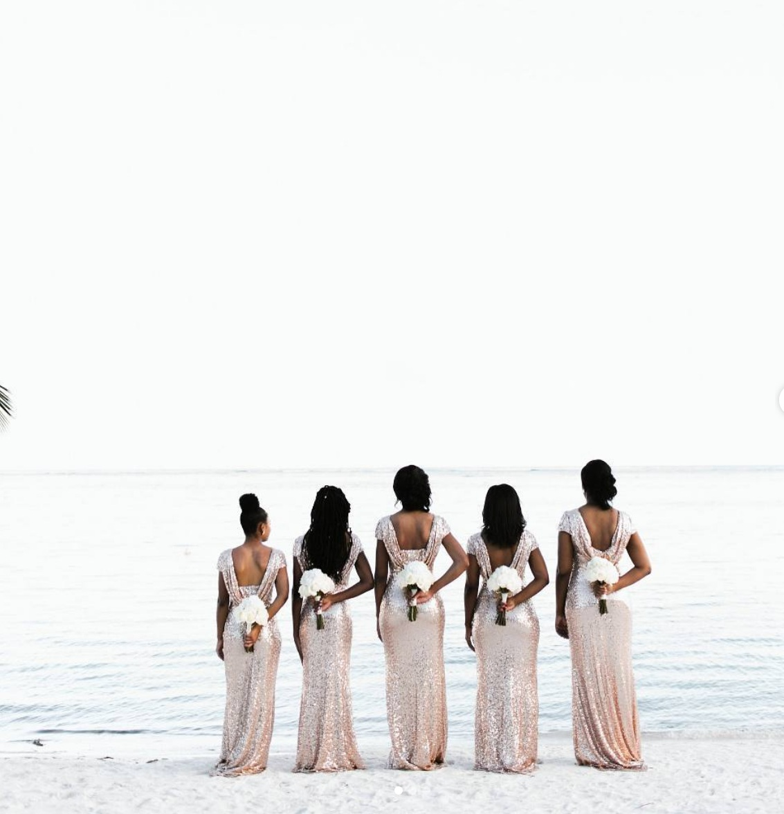 CM Events and Design Wedding, Punta Cana. Designer dresses by Badgley Mishcka sourced from Rent the Runway. Photo- Karina Jensen