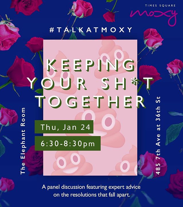 Need some inspo for keeping your 2019 resolutions in check? Stop by @MoxyTimesSquare tonight at 6:30pm for advice on crushing your resolutions from @Chrissyford + @VBiancav and @stalkalice