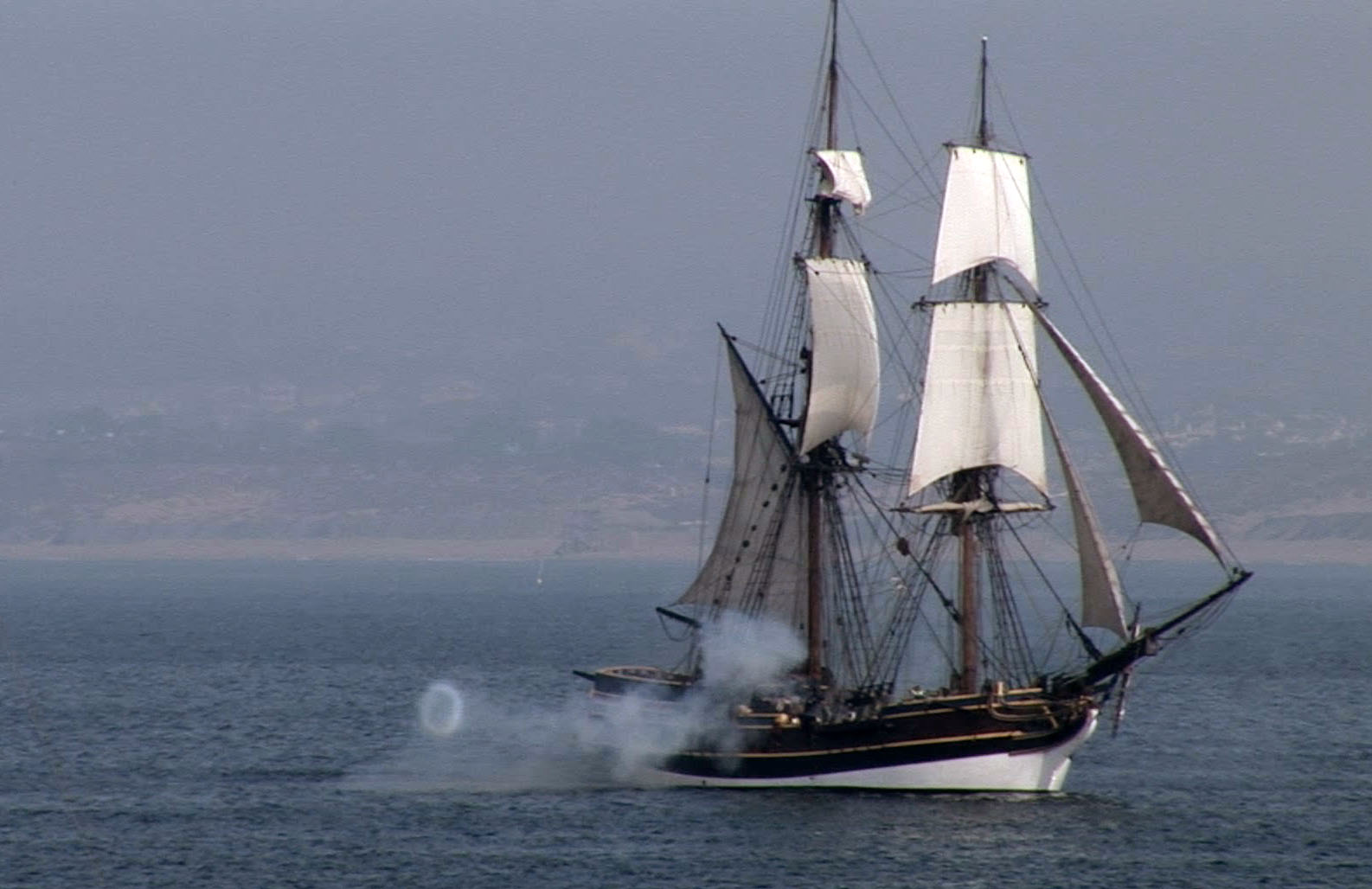 The tall ship  Lady Washington  played the role of the historic ship  Santa Rosa  (Photo courtesy of Edward Pío Videography).