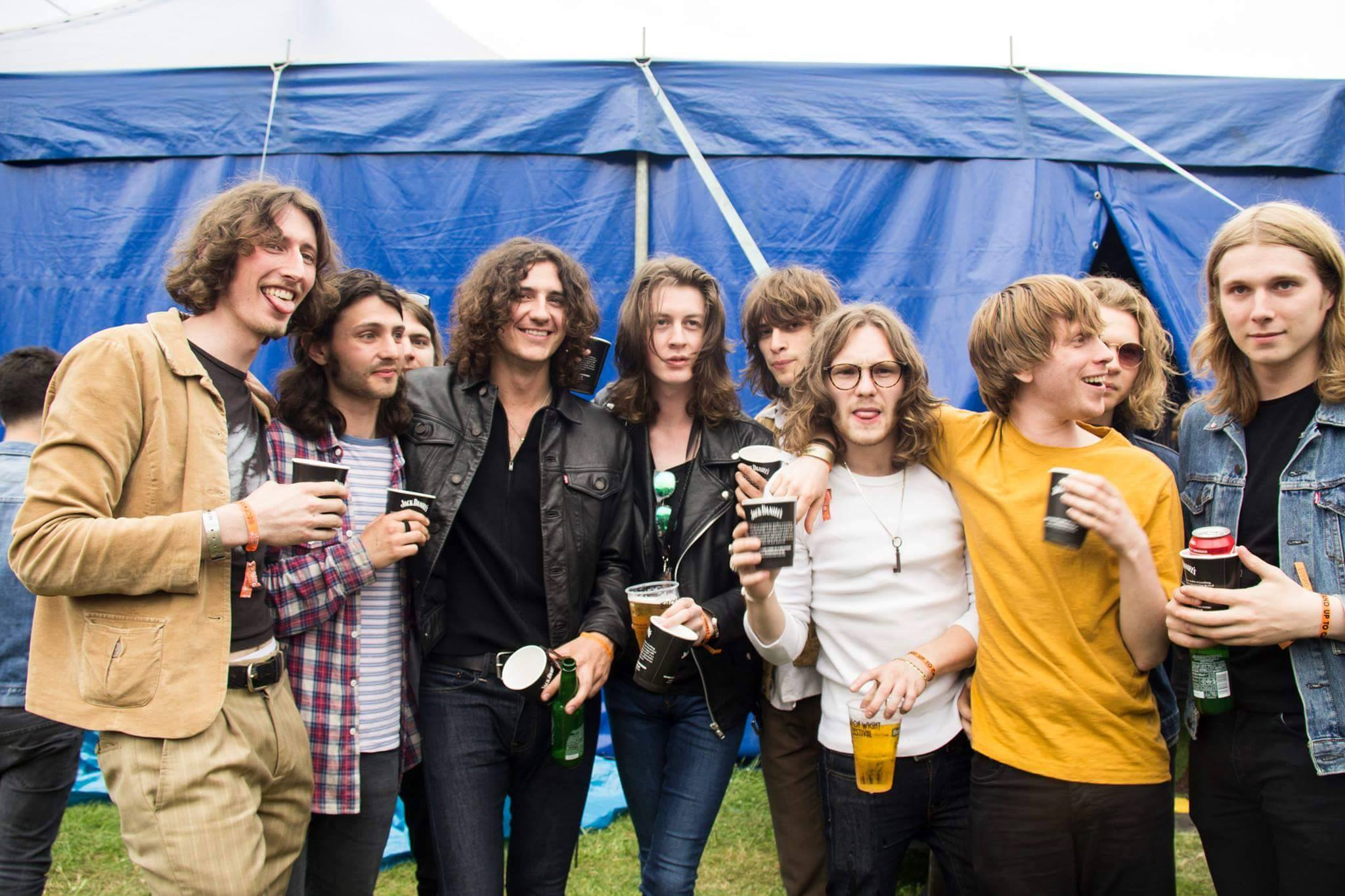 Blossoms backstage at Isle Of Wight festival shot by Katie Willoughby.