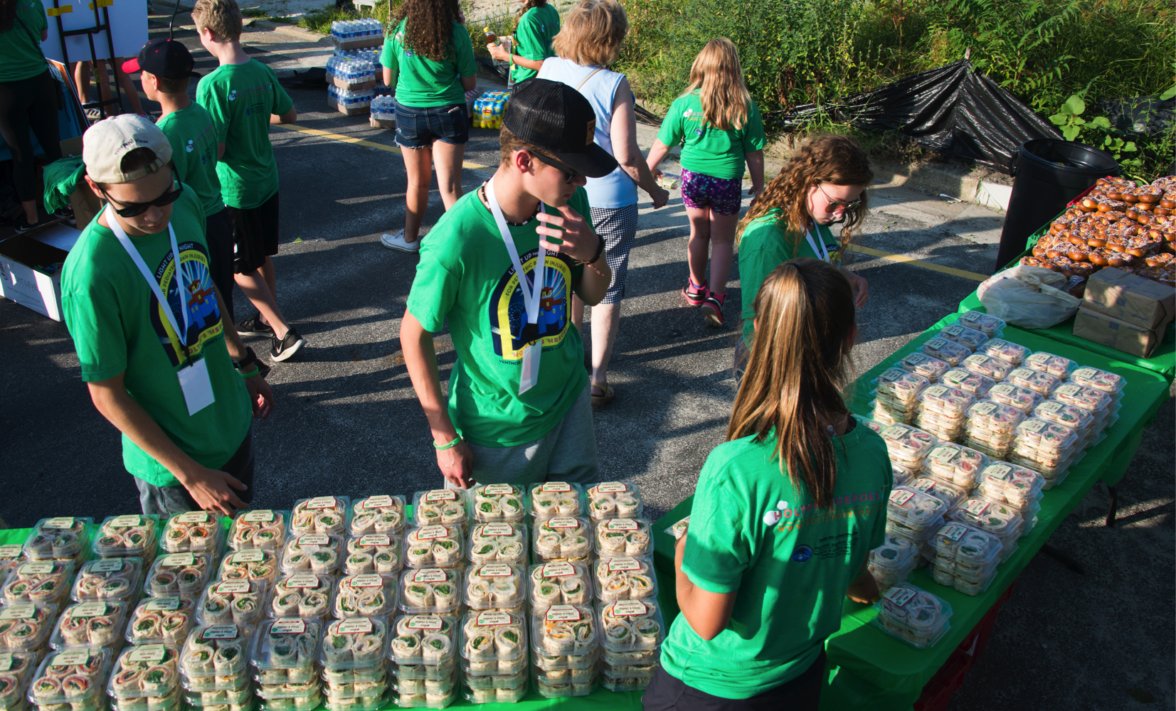Some of our volunteers setting up all the sandwiches, pretzels, and drinks Wawa donated.
