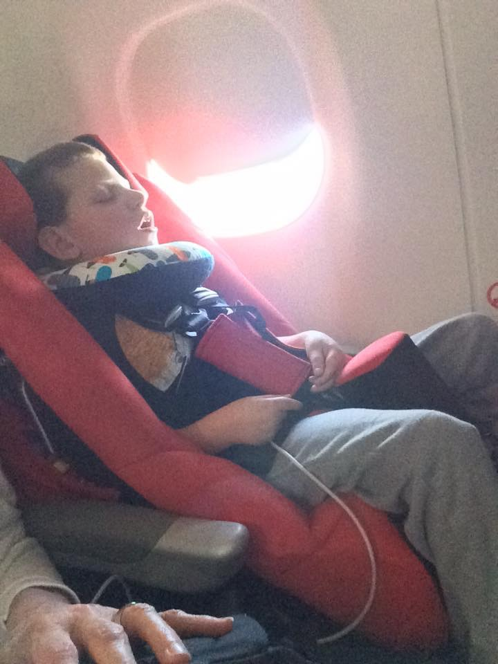 Carter in his new travel seat