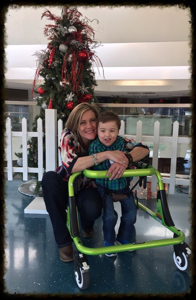 Mommy and Webb in a gait trainer.