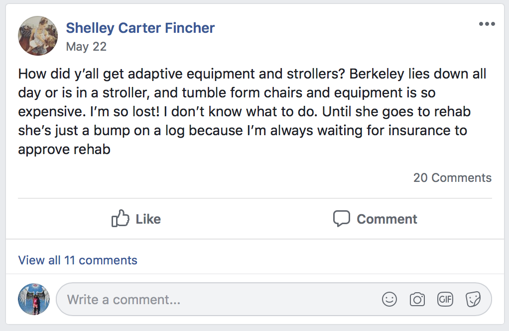 Shelley's Facebook post about her daughter's needs that caught the attention of Holton's Heroes.